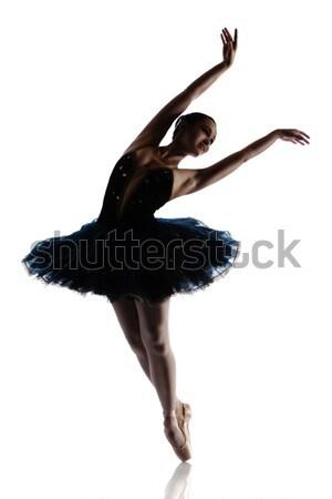 Kadın balerin siluet güzel yalıtılmış beyaz Stok fotoğraf © handmademedia