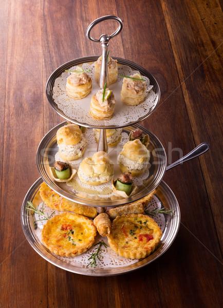 Lezzetli pasta lezzetli hizmet Stok fotoğraf © handmademedia