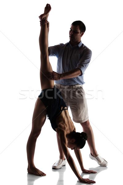 Kadın balerin siluet güzel dans öğretmen Stok fotoğraf © handmademedia