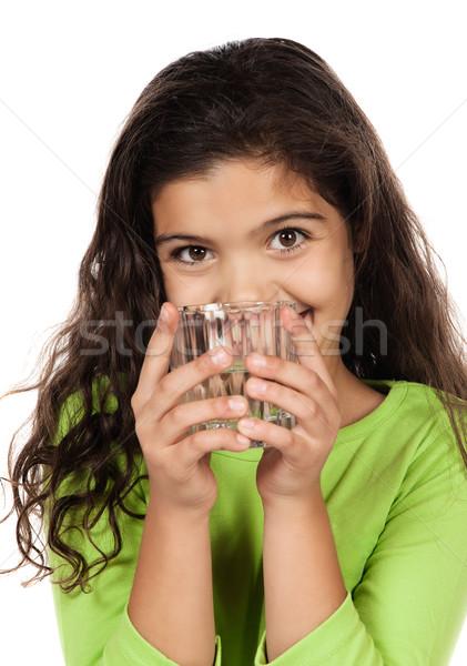 Mooie kaukasisch meisje cute groene Stockfoto © handmademedia
