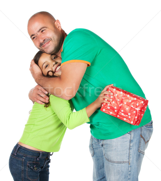 Vader dochter mooie cute kaukasisch meisje Stockfoto © handmademedia