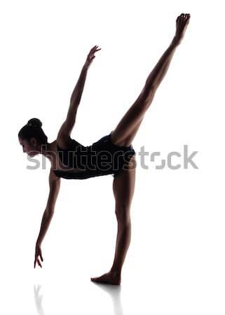 женщины балерина силуэта красивой изолированный белый Сток-фото © handmademedia