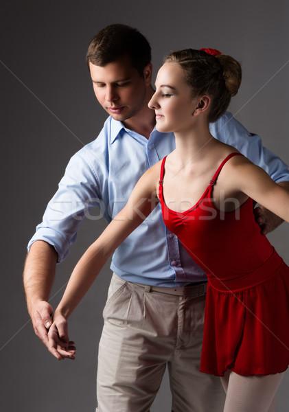Stockfoto: Vrouwelijke · balletdanser · mooie · instructeur · grijs · ballerina