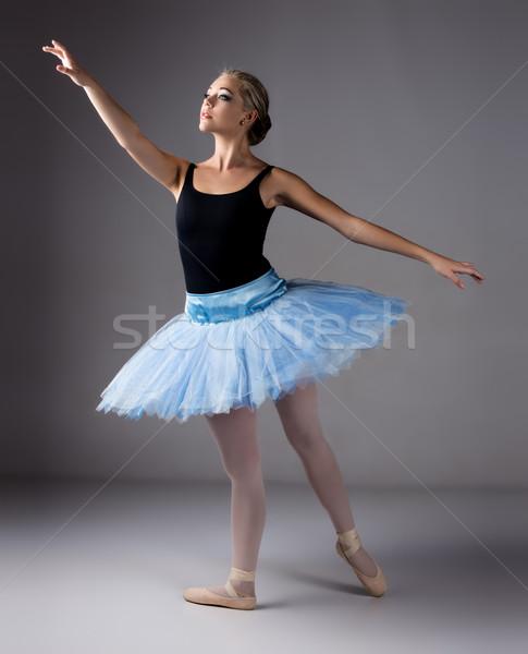 Kadın balerin güzel gri balerin Stok fotoğraf © handmademedia