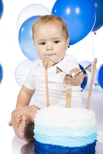 Bebek kek erkek mavi Stok fotoğraf © handmademedia