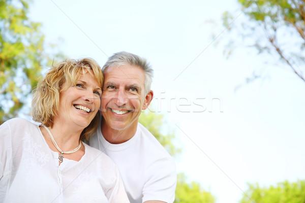 Maturité couple souriant famille printemps Photo stock © hannamonika