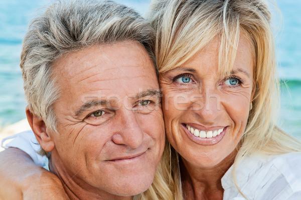 Foto stock: Feliz · maduro · casal · ao · ar · livre · retrato · mulheres
