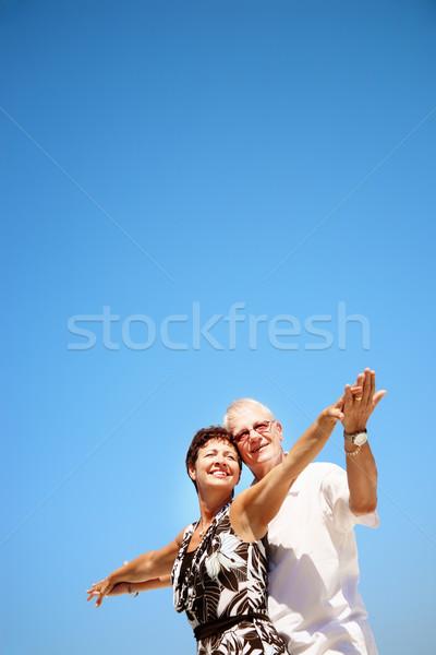 érett pár kék ég nő égbolt család Stock fotó © hannamonika