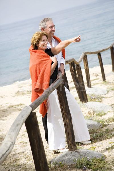 Güzel olgun çift açık havada kadın plaj Stok fotoğraf © hannamonika