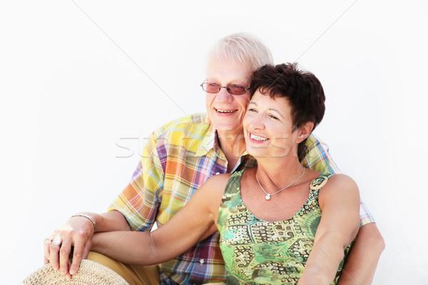 Olgun çift gülen kadın aile Stok fotoğraf © hannamonika
