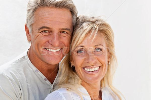 Foto stock: Feliz · maduro · casal · retrato · beleza · espaço
