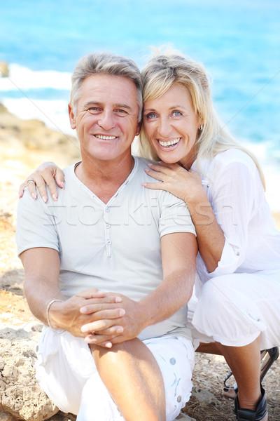 Foto stock: Feliz · maduro · casal · ao · ar · livre · família · cara
