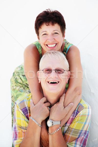 érett pár mosolyog átkarol nő család Stock fotó © hannamonika