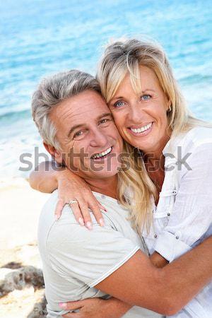 Boldog érett pár kint portré nők Stock fotó © hannamonika