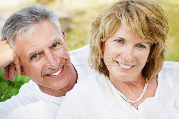 Mature couple smiling and embracing Stock photo © hannamonika