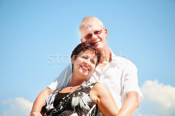 зрелый пару Blue Sky женщину небе семьи Сток-фото © hannamonika