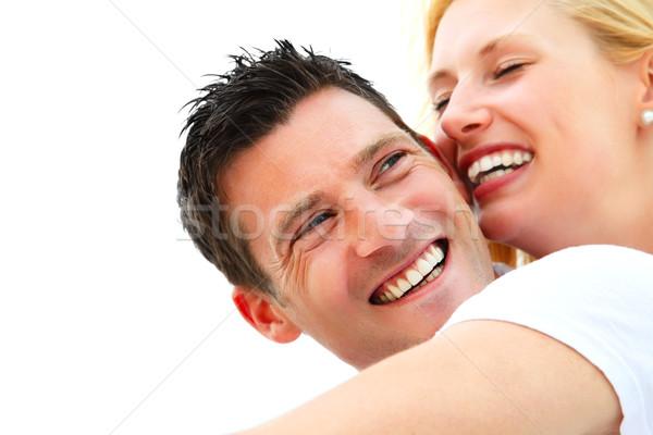 Foto stock: Jovem · feliz · casal · raso · foco