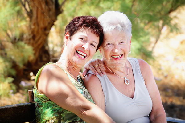 Beautiful senior mother and daughter having fun Stock photo © hannamonika