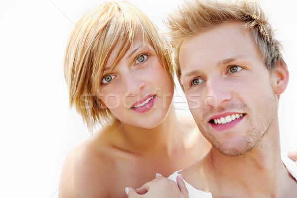 Fiatal pér szeretet áll fehér arc nők Stock fotó © hannamonika