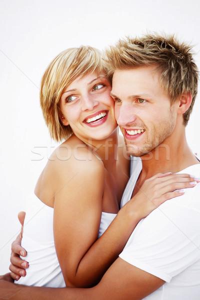 Sevmek ayakta beyaz yüz kadın Stok fotoğraf © hannamonika