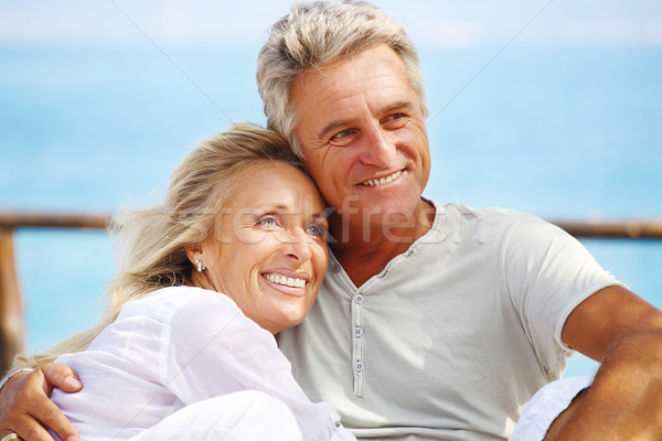 Happy mature couple outdoors Stock photo © hannamonika