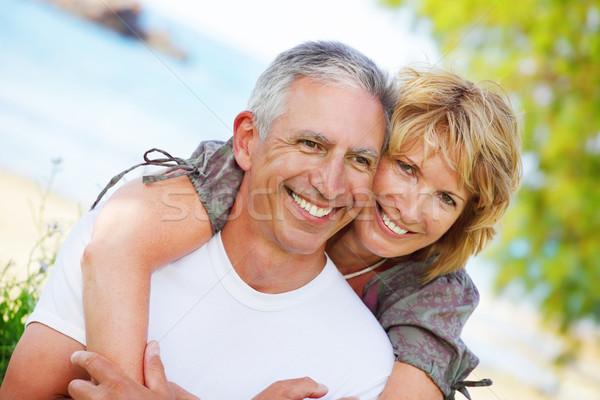 Maduro casal sorridente retrato Foto stock © hannamonika