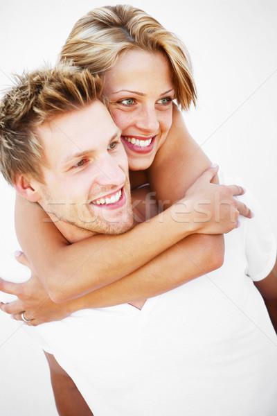 Fiatal pér szeretet szórakozás fehér nők modell Stock fotó © hannamonika