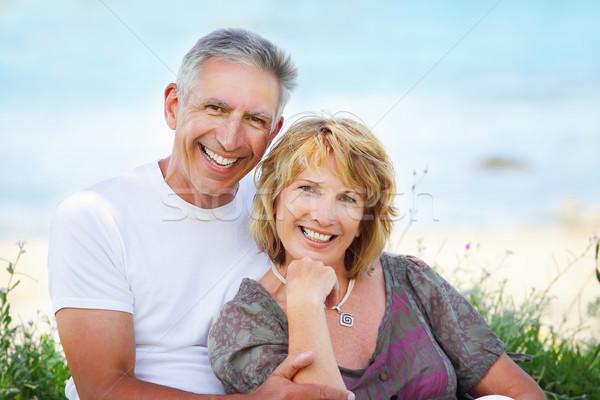 érett pár mosolyog közelkép portré átkarol Stock fotó © hannamonika