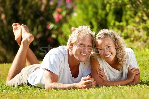 Happy young couple Stock photo © hannamonika