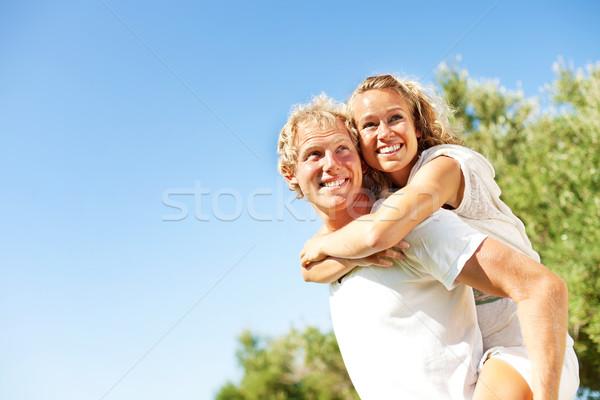 Feliz ao ar livre mulher grama verão Foto stock © hannamonika