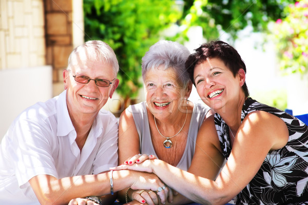 Mutlu aile aile el gülümseme adam kadın Stok fotoğraf © hannamonika