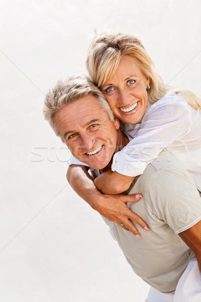 Mutlu olgun çift portre güzellik uzay Stok fotoğraf © hannamonika