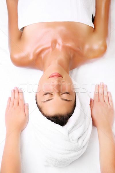 Belle jeune femme prêt massage mains visage Photo stock © hannamonika