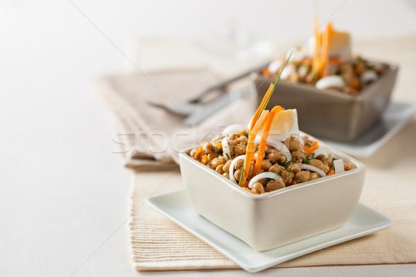 Soja bean salade fèves blé oignon Photo stock © hansgeel