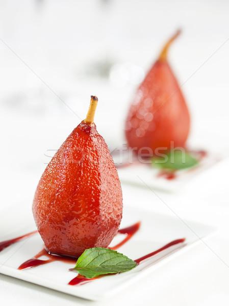Poires vin dessert sweet cuit vin rouge Photo stock © hansgeel