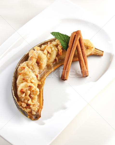 Sült banán sütő sült szeletek diók Stock fotó © hansgeel