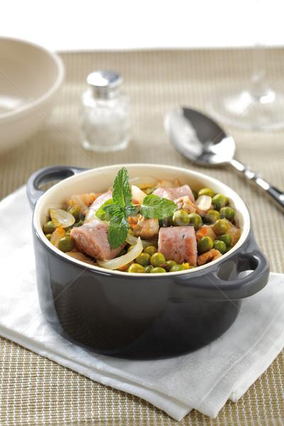 зеленый тушеное мясо горох колбаса лук мяса Сток-фото © hansgeel