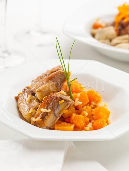 Stock fotó: Disznóhús · borda · rizs · sütőtök · étel · fotó