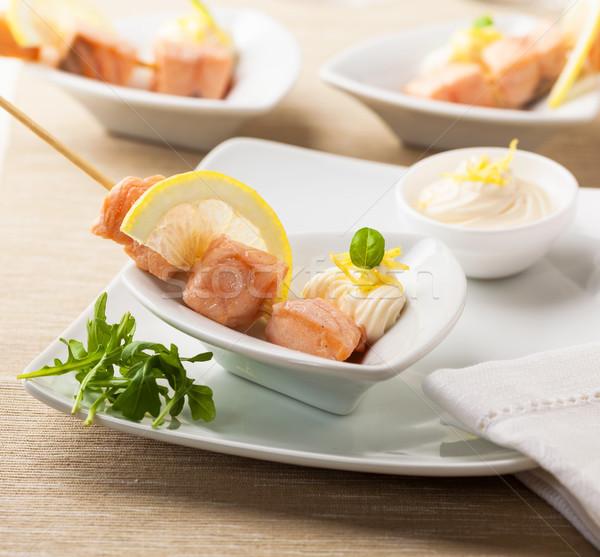 Lazac gyömbér majonéz fotó stock bot Stock fotó © hansgeel