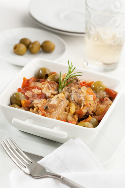 Poulet légumes tomate oignon olives Photo stock © hansgeel
