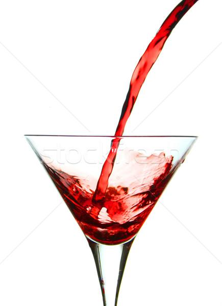 áramló piros martini martinis pohár folyadék fehér Stock fotó © hansgeel