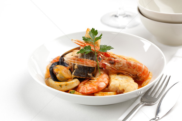Mixte fruits de mer plat crevettes squid Photo stock © hansgeel
