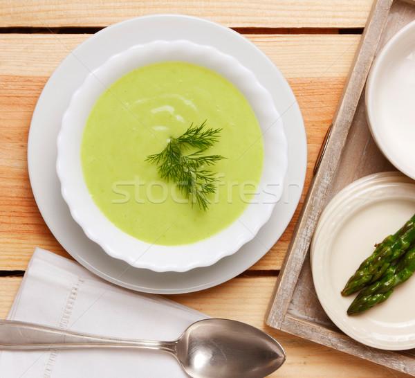 Spárga leves tányér fa asztal étel egészség Stock fotó © hansgeel