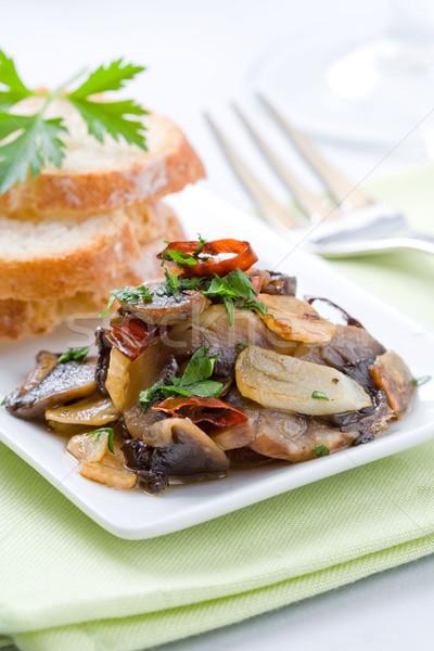 Gomba előétel edény asztal villa étel Stock fotó © hansgeel