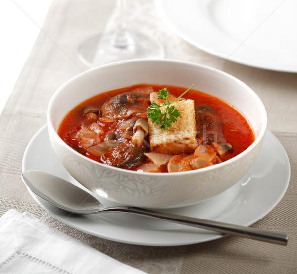 Champignons soupe différent plaque stock cuillère Photo stock © hansgeel