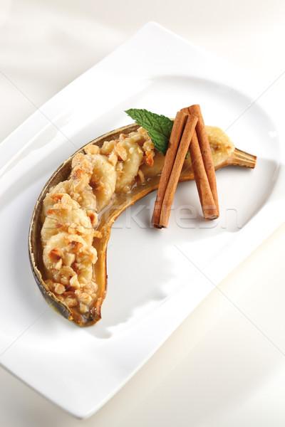 Banán desszert sült diók fahéj tányér Stock fotó © hansgeel