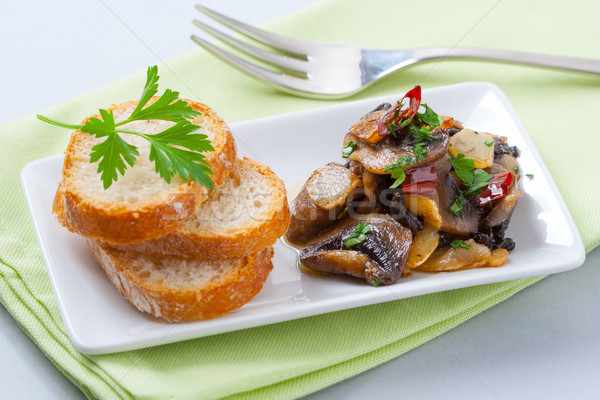 Gomba előétel asztal villa kenyér Stock fotó © hansgeel