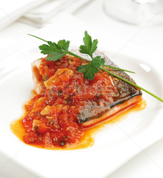 Truite filet frit tomate oignon ail Photo stock © hansgeel