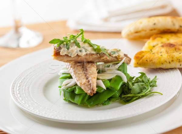 Makreel salade heerlijk groene bonen raket bladeren Stockfoto © hansgeel