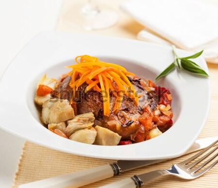 Disznóhús keverés sült zöldségek tányér fotó Stock fotó © hansgeel